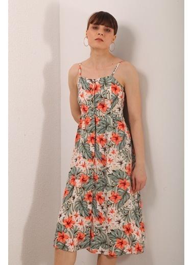 Reyon ıp Asklı Çiçek Desen Elbise Mavi Yeşil